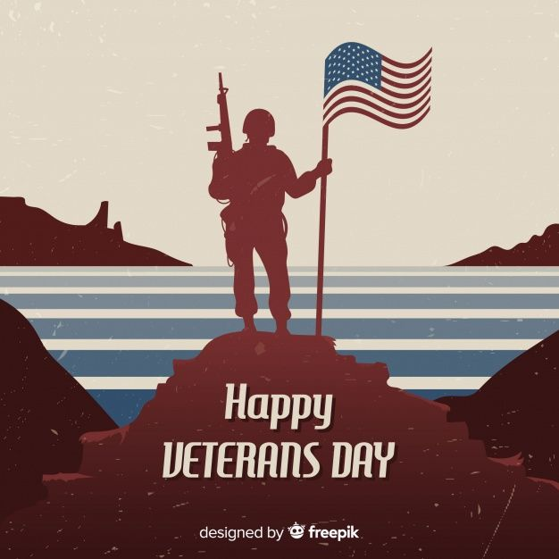 Veteran S Day Background With Soldier And Flag Veterans Day Free Graphic Design Graphic Design Templates