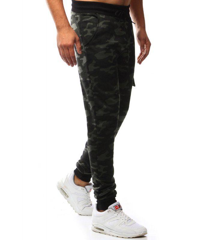 Pánske maskáčovo čierne teplákové nohavice