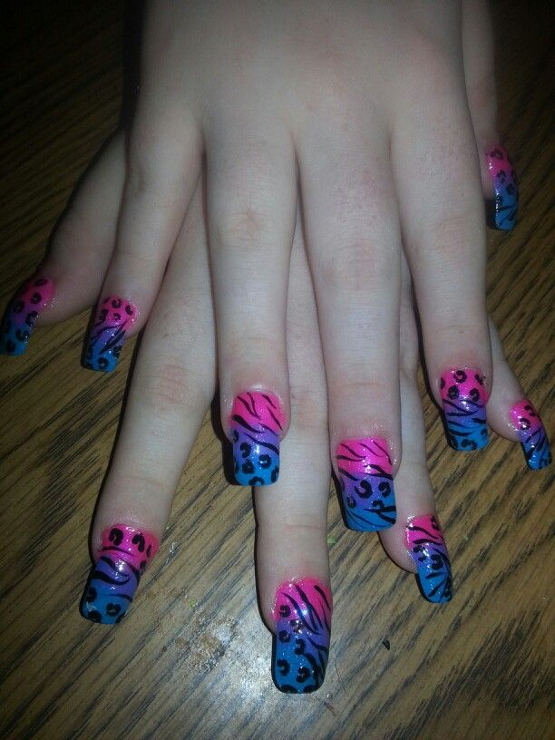 37 best nails images on pinterest nails design art and nail art zebra cheetah pink blue purple nail designs art prinsesfo Image collections