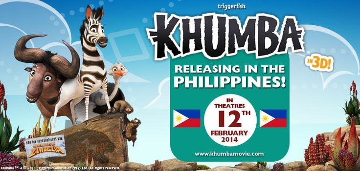 """""""Get your popcorn popping!"""" KHUMBA and the herd head to the PHILIPINNES!! SHOWING ON FEBRUARY 12th, NATIONWIDE! Woot!  It's not all black and white for this zebra… he's going to have to earn his stripes!   www.khumbamovie.com"""
