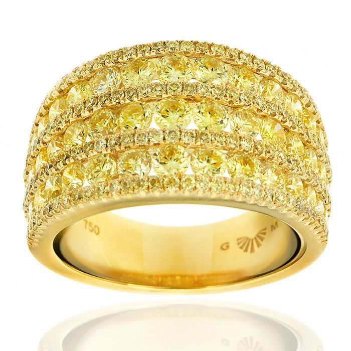 Sublime yellow diamond dress ring from the Gerard McCabe Fantasy Diamonds collection. Featuring over 170 beautiful diamonds. Crafted in 18ct yellow gold. Contact us to enquire about customising this ring for your finger size.