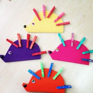 clothespin hedgehog craft