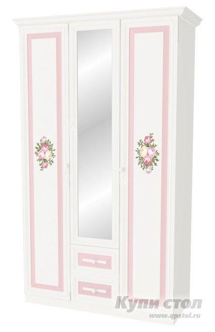 Шкаф 3-створчатый с ящиками Алиса  Шкаф 3-створчатый с ящиками из детской модульной серии Алиса.    Модульная система Алиса поможет сделать комнату мечты явью для маленькой любительницы сказок и волшебства. Нежная цветовая гамма с преобладанием зефирно-розового, изящные элементы оформления и изумительный, цветочный декор на каждом элементе модульной системы сделают детскую спальню цельной, наполненной упоительной магией детства.      Шкаф 3х створчатый Алиса выгодно дополнит опочивальню…