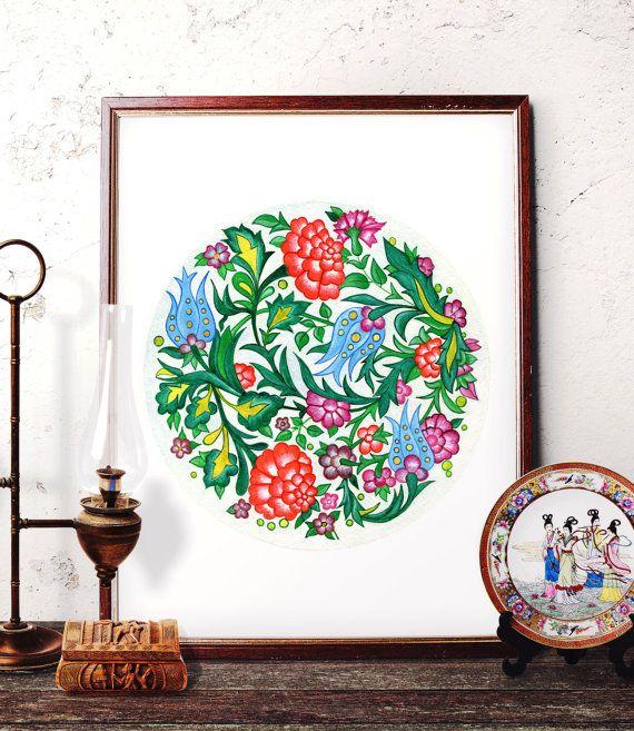 Vintage Flower Watercolor Painting Traditional by HermesArts