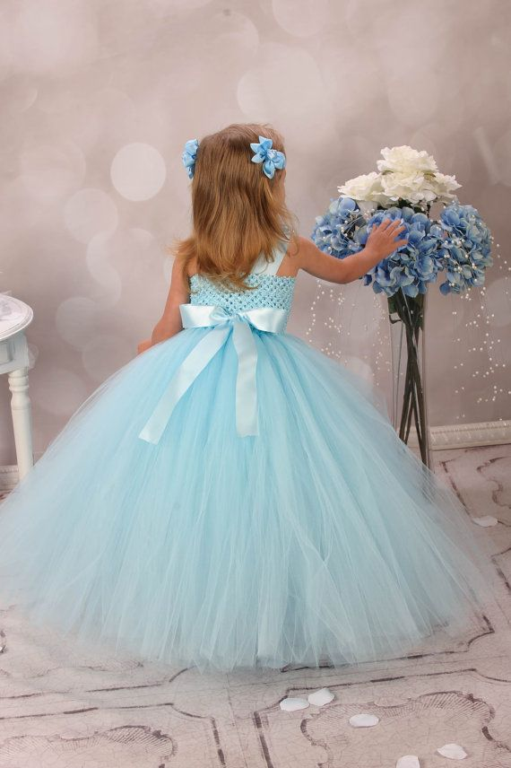 Blue Rhinestone Couture Flower Girl Tutu Dress by krystalhylton