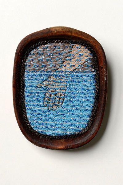 "Ulla Pohjola ~ ""Water"" (2013) hand embroidery, mixed media: silk threads, pearls, tarred wood | 9.3 x 7.2 x 1.5 cm *Vesi - käsin kirjonta* via ullapohjola.fi (detail at link)"