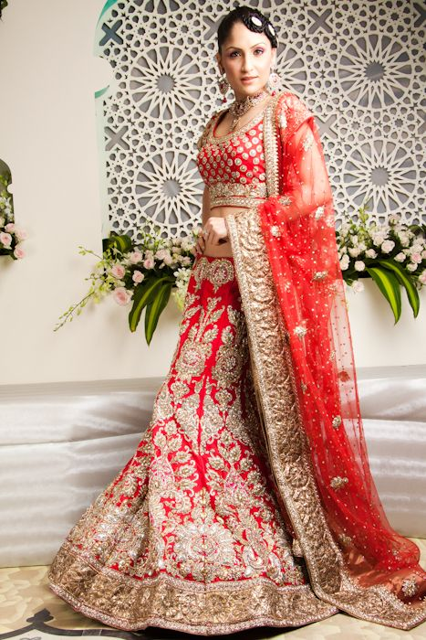 another cute red bridal lengha