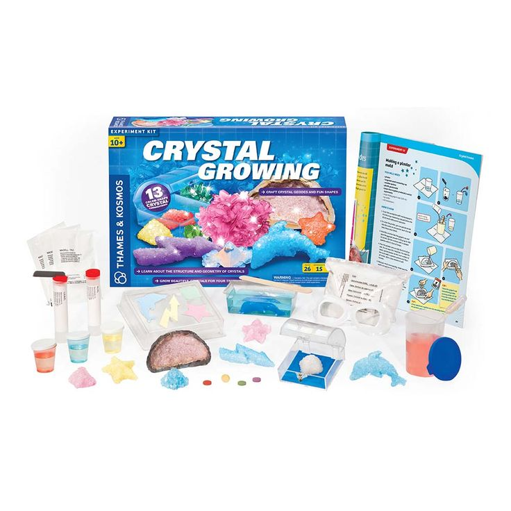 Crystal Growing-Grow dozens of dazzling crystals and conduct 15 illuminating experiments with this classic science kit. Experiment with four chemically different crystals each with different properties, including potassium alum crystals that form regular octahedrons, rapidly growing sodium sulfate crystals, long needle-shaped sodium acetate crystals, and plaster which is made from gypsum crystals.  #chemistry #steam #stem #makerspace