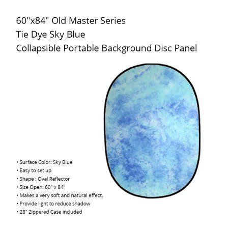 Blue Tie-Dyed Twist Collapsible 5' x 7' Background Panel Disc for Photography Convenient Backdrop by Loadstone Studio WMLS0787