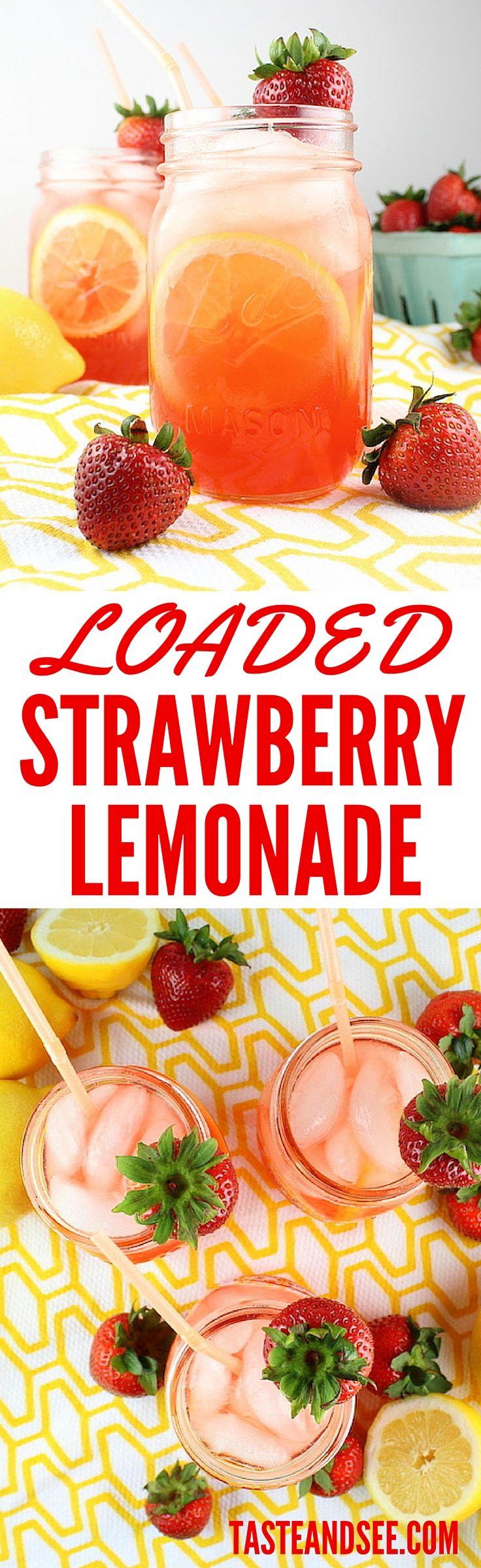 Loaded Strawberry Lemonade is the poster child for summer's ultimate cocktail: fresh lemon juice, strawberry liquor, vodka and fresh strawberries of course! #strawberrylemonade http://tasteandsee.com