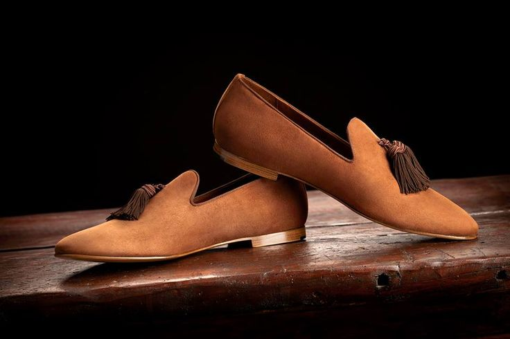 Luxury and Hand-made LOUIS Cinnamon Suede Slippers with Brown Silk Tassels by SUPERGLAMOUROUS
