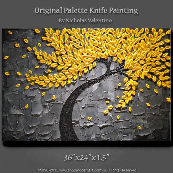 "Large 36""x24""x1.5"" Original Blossom Tree Painting - Yellow & Gray  - Palette Knife - Impasto Texture"