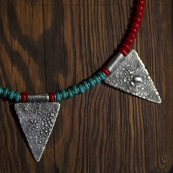 Red coral necklace Turquoise Raw sterling silver Natural