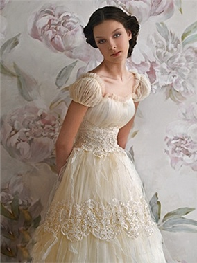Square neck Short sleeve Chiffon Tulle Floor-length Beading Papilio Bridal Gown - so innocent
