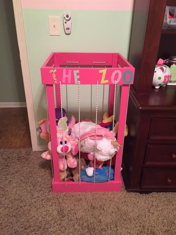 This stuffed animal storage cage will provide a convenient place for the kids to neatly store their stuffed animals.  The bungee sides allow them to easily pull the animals out, and the open top allows them to toss them back in when done.