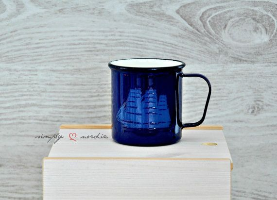 Vintage Mug Enamel Blue Ship Rare Arabia Finel Finland on Etsy, $58.54