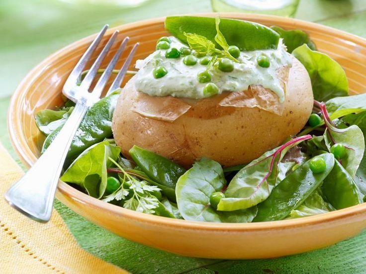 Gevulde aardappelen met ricotta en erwtjes