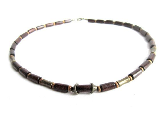 Mens wood beaded necklace man wooden necklace by Bravemenjewelry