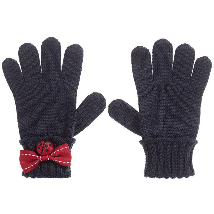 Dolce & Gabbana Girls Blue Wool Gloves at Childrensalon.com
