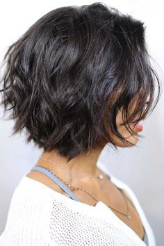 black hair layered messy bob, shorter in the rear for something different but still on-trend