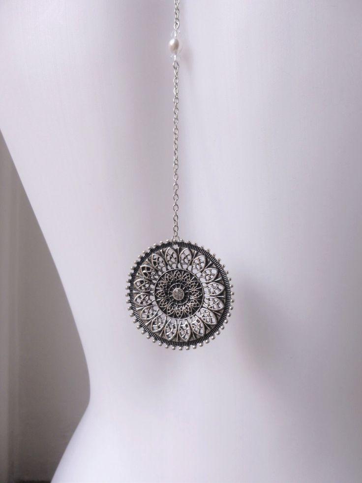 Bijou de dos pour mariage style retro inspiration Gatsby, Années Folles 1920's perles swarovsky avec arabesque : Collier par les-bijoux-d-aki