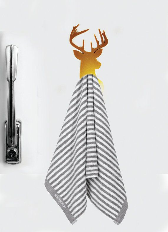 Deer hand towel holder Christmas gift FREE SHIPPING magnet- towel hooks - Magnet hook for hanging a towel on the refrigerator.