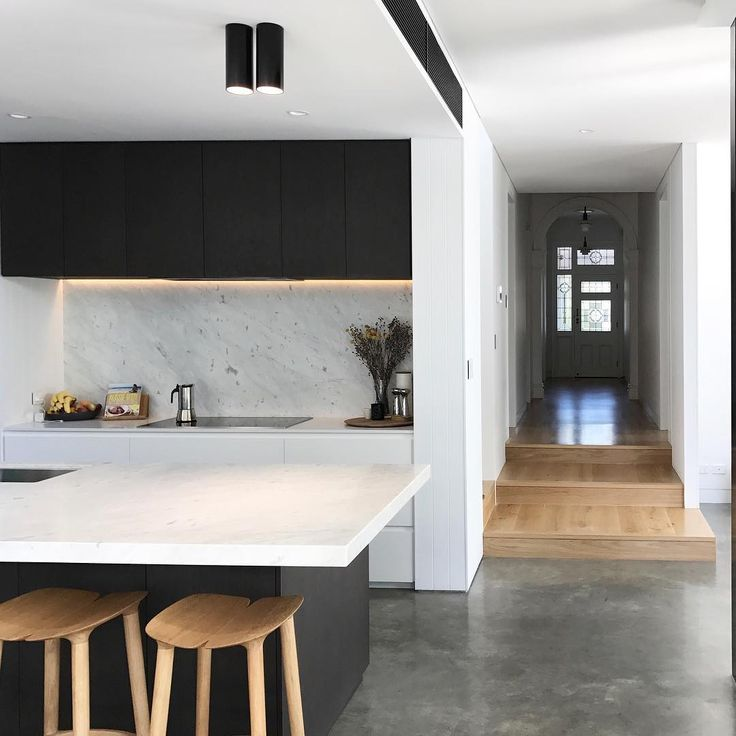 Black white and wood kitchen
