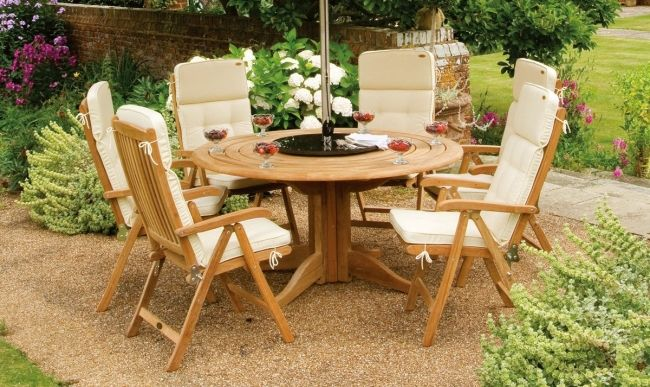 Teakholz Mobel Runder Tisch Sonnenschirm Integriert Gartenmobel Holz Gartenmobel Gartendesign Ideen