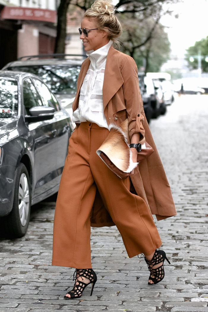spring / summer - fall / winter - street style - chic street style - casual outfits - fashion week - fall outfits - winter outfits - business casual - office wear - work outfits - party outfits - camel coat + camel culottes + black caged heeled sandals + white sleeveless blouse + silver rimmed sunglasses + brown clutch