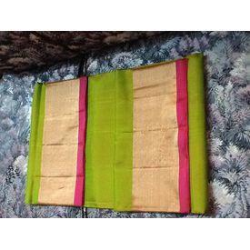 light green pattu saree with pink border  @ www.vinnireddy.com