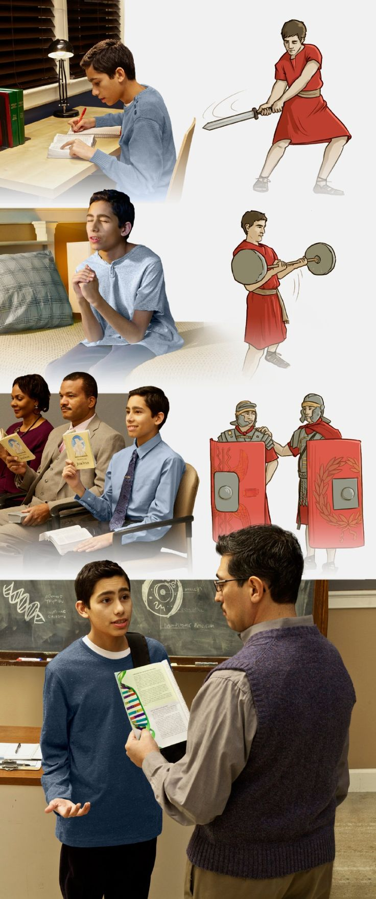 Scenes of a young brother who trains spiritually are contrasted with depictions of a soldier who goes through drills