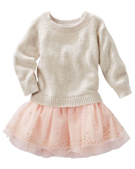 Sweater knit meets tulle in this twirl-worthy, mixed-fabric dress. Sparkly stars keep this one sweet!