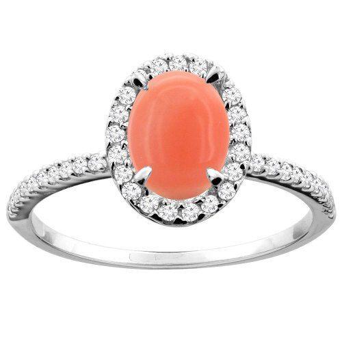 Anel de coral com acentos de diamante, US $ 330