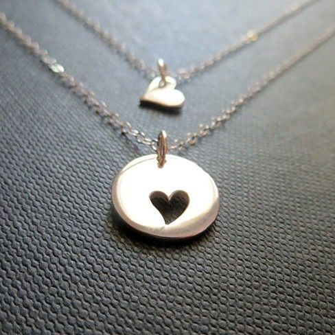 Mother and Daughter Sterling Silver Heart Necklace Set:
