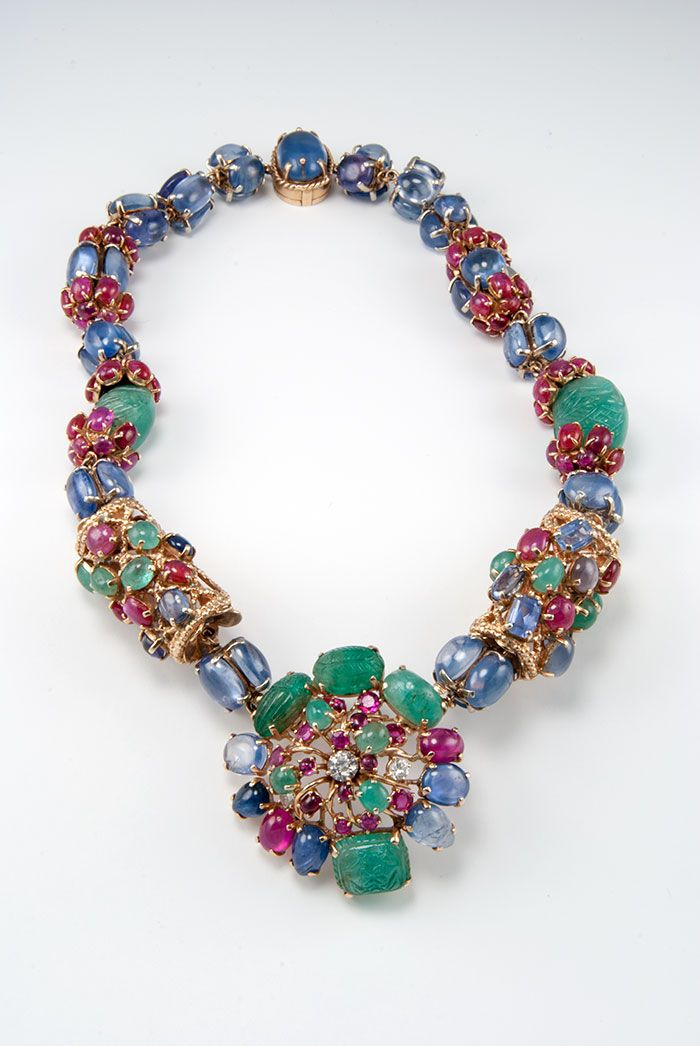 Vintage Seaman Schepps Necklace with rubies, emeralds, sapphires, and one diamond (=)
