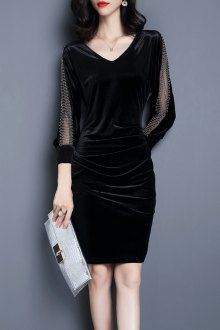 Ruched Velvet Dress