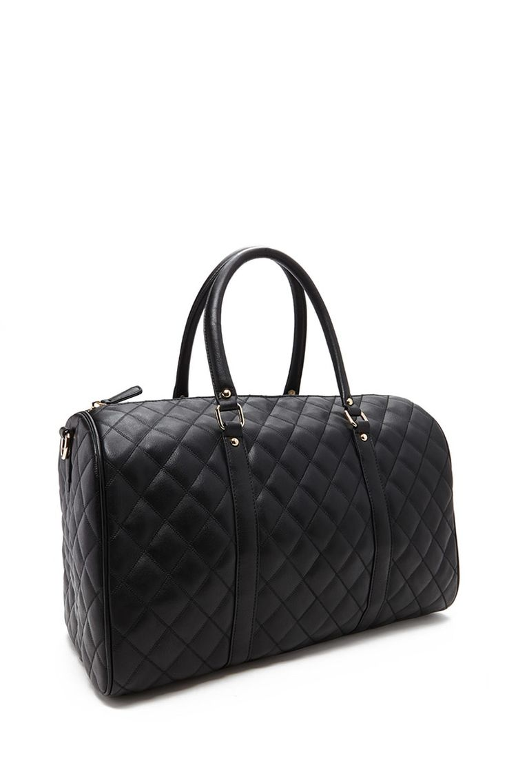 Quilted Faux Leather Travel Bag
