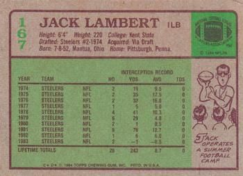 1984 Topps #167 Jack Lambert Back
