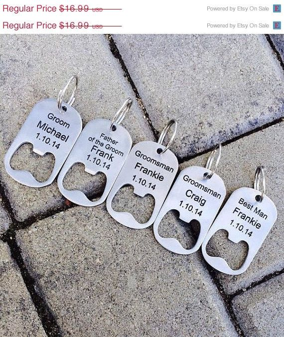 10% OFF SALE Groomsmen gifts/ Personalized Bottle Opener Key Chain -Laser Engraved Groomsmen Gift, Wedding, Beer Lover, Custom Key Chain