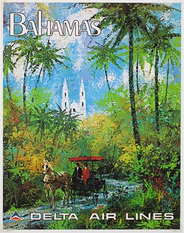 Delta Air Lines Bahamas by Jack #Laycox from 1970's USA (22 x 28 in.)