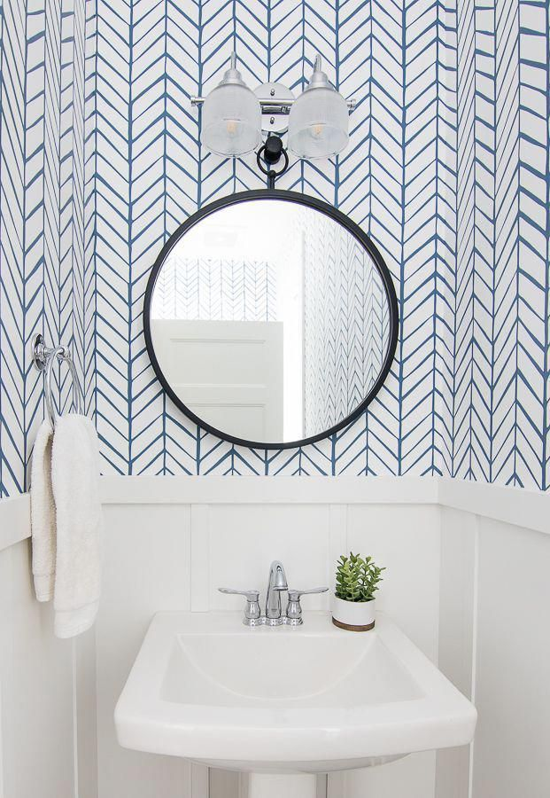 Serena Amp Lily Blue And White Herringbone Wallpaper Small