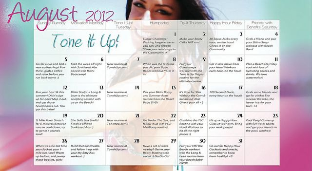 Your Tone It Up August Fitness calendar <3 toneitup.com