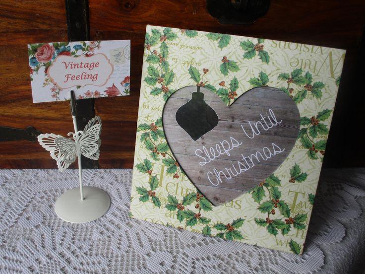 Christmas Countdown Heart Frame, Sign, Plaque, Chalkboard, Sleeps Until Christmas Vintage Feeling by VintageFeelingLouise on Etsy