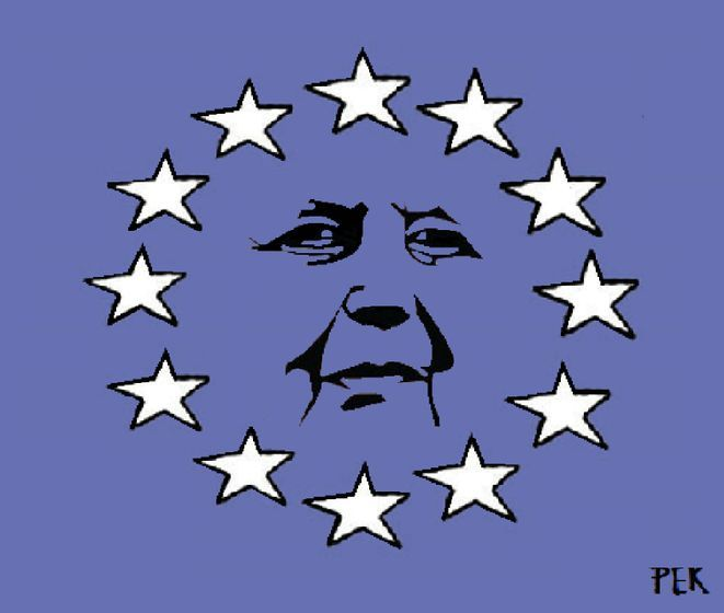 Pete Kreiner (2016-06-24) Maggie In The Sky With Diamonds. Which way would late former British P.M Margaret Thatcher have voted? UK EU Brexit.    See my album for more cartoons on Britain's EU referendum http://www.cartoonmovement.com/p/20044