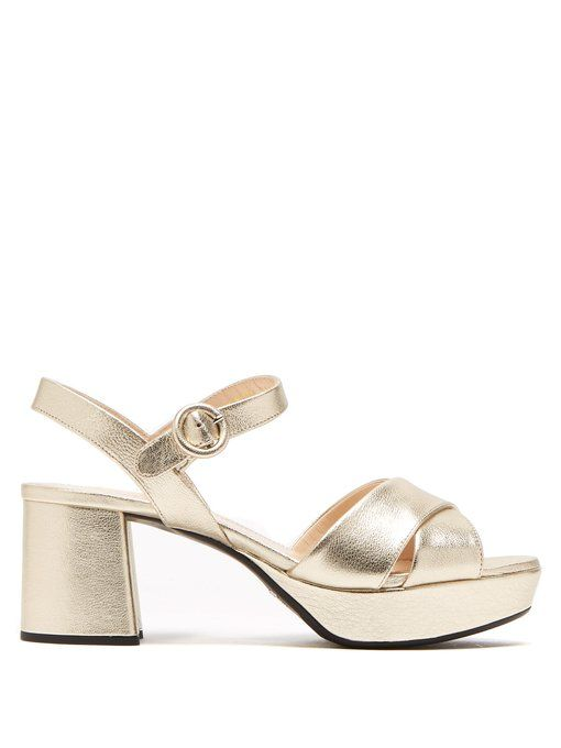 88680f1e9e2 Prada Platform metallic-leather sandals