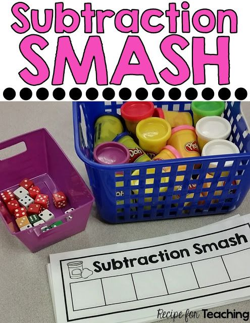 FREE Subtraction Smash mats! Students use Play-Doh to subtract. Includes three…