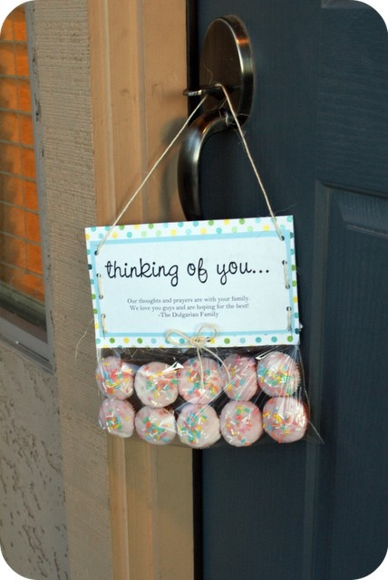 leaving cupcakes on the door for friends or neighbors