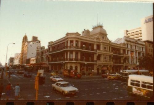 The Palace Hotel (prior to the construction of the Bankwest tower) at the corner of St Georges Terrace and William Street, Perth, c.1980. Th...