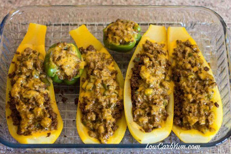 low carb taco stuffed yellow squash baked