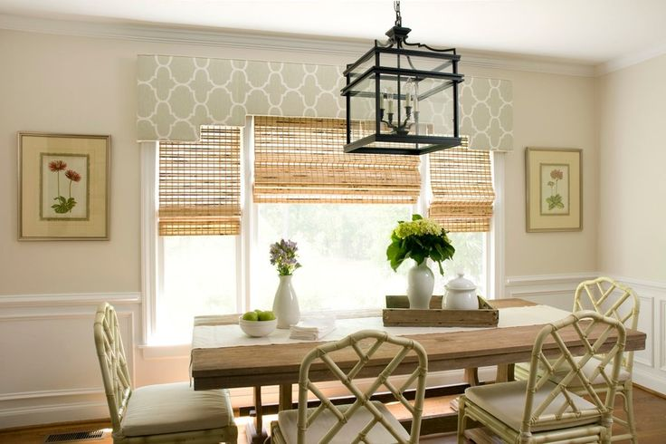 Splashy matchstick blinds in Dining Room Traditional with Wooden Carport Plans next to Cornice Board alongside Curtains Over Vertical Blinds and Large Windows Treatments